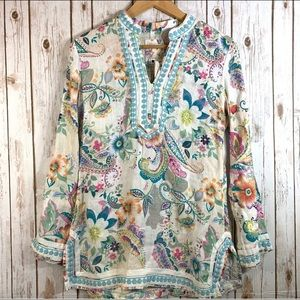 Malvin Embroidered Linen Floral Tunic